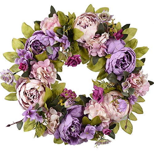 TINGOR 14'' Artificial Peony Flower Wreath, Handmade Fake Peony Door Wreath Floral Twig Wreath for Front Door, Wall, Wedding, Home Décor (Purple)