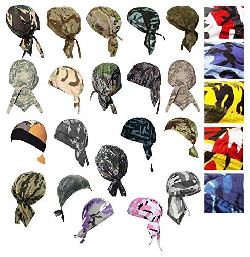 Camouflage Doo-Rag Assorted Lot Camo Do-Bandana 5 Skull Caps Du-Wrap