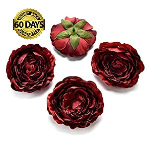 Artificial Flower 5pcs 9cm real touch silk peony flower head simulation DIY wedding family party decoration clip (dark red) 29