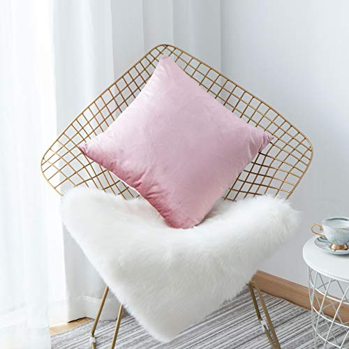 HOME BRILLIANT Deluxe Solid Velvet Europe Throw Pillow Cover Sham Large Pillow Case for Teen Girl's Room Wedding, 26 x 26 inch(66cm), Blush Pink (Sham Euro Measurements)