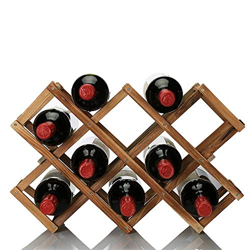 OPPIS Criss-Cross Wine Rack Wooden Folding Free Standing Tabletop Wine Storage Rack, Countertop Display Wine Holder Kitchen Cabinet,Wine Bottle Organizer for Home Kitchen Bar (Carbonized Color) (Crisscross Wine Rack)