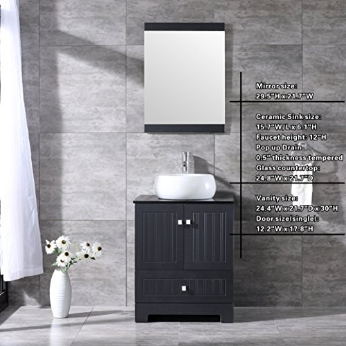 Bestmart INC 24'' Bathroom Vanity Cabinet Ceramic Vessel Round Sink Basin Faucet Mirror and Free Drain