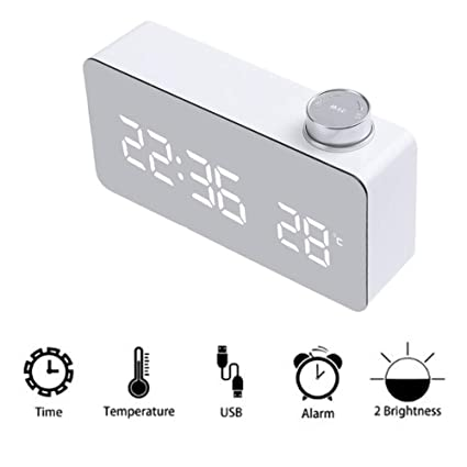 LovelyPrice Digital Alarm Clock, Mirror Alarm Clock Dual Alarm Wake-up Clock, LED
