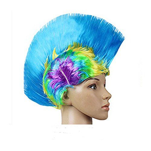 Supersnailman Masquerade Ball Funny Colorful Party Cosplay Rainbow Mohawk Wigs -