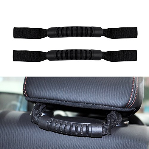 Santu Rear Seat Grab Handle Roll Bar For All Year Jeep Wrangler JK & Unlimited Black 2 PCs
