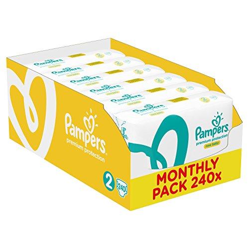 Pampers Premium Protection New Baby Größe 2 (Mini) 3-6 kg Monatsbox, 1er Pack, 1 x 240 Windeln