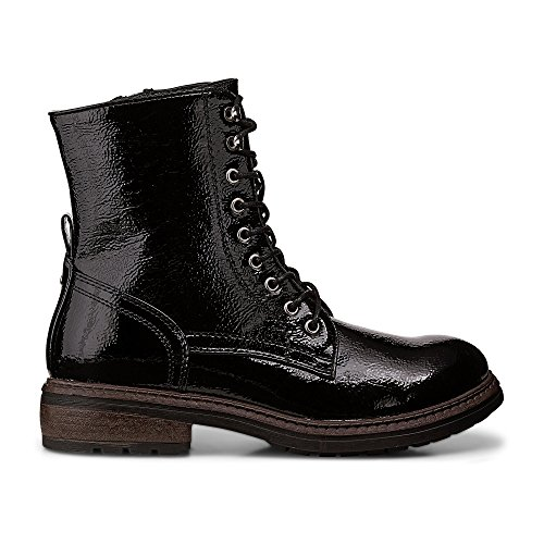 Damen schwarz Schnür Lackleder in Damen Synthetik Boots schwarzer A Stiefeletten Optik Another 39 qtvx55
