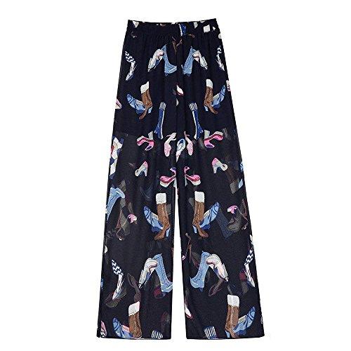 Moda Strato 5 Estivi Basic Donna Chiffon Eleganti Ragazza Stampate Libero Lunga Elastica Pattern Pantaloni Colore Dritti Doppio Spacco Baggy Tempo Alta RI7zq