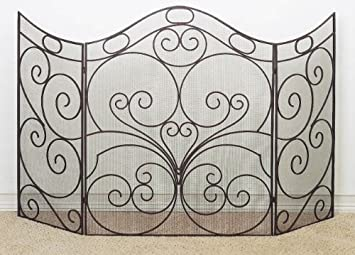 Amazon extra large 66 curved iron firescreen metal extra large 66 curved iron firescreen metal fireplace screen teraionfo