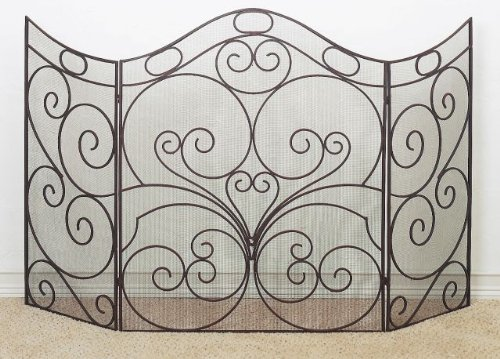Iron Firescreen - Extra Large 66'' Curved Iron Firescreen | Metal Fireplace Screen