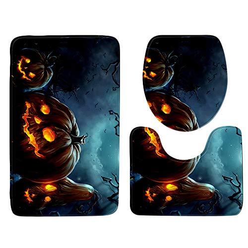 (Halloween Decor KIKOY Pumpkin lantern Bathroom Rug Set 3Pcs)