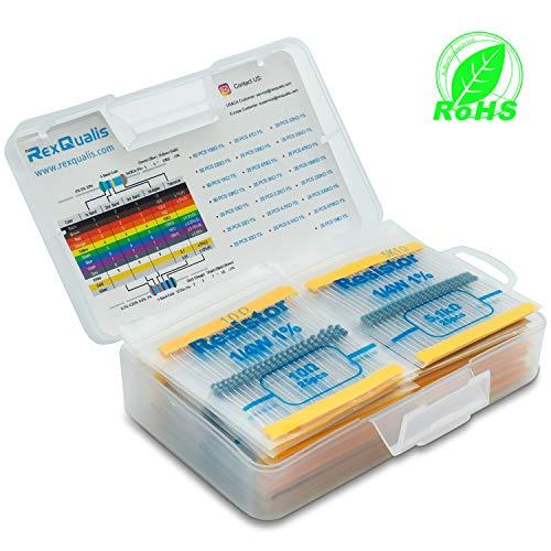 REXQualis Resistor Assortment Kit 22 Values 1/4W 1% Resistor Assortment,10 Ohm - 1M Ohm (Pack of 650) by REXQualis