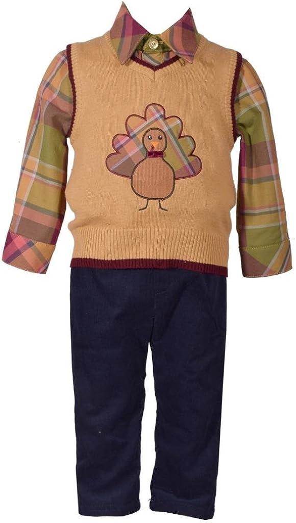 Bonnie Jean 3 Pc Sweater Vest with Thanksgiving Turkey Applique Shirt Pants Set