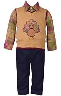 Bonnie Jean Matt/' Scooter Boys Rocking Horse Sweater Christmas 3 Pieces Set