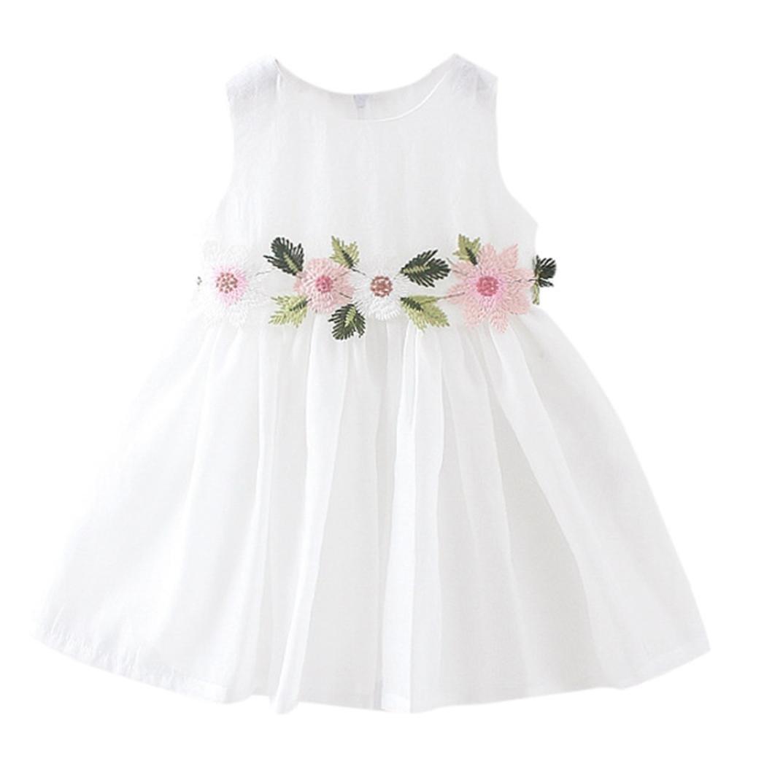 TiTCool Little Girls Dresses, Toddler Summer Dress Sleeveless Cute Waist Flowers Sundress for 2-4 Years Old (3T, White)