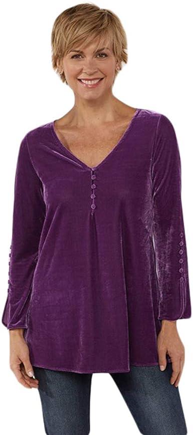 CrazyTiger blusa tipo túnica holgada de terciopelo con cuello en V y manga larga para mujer - Morado - Large: Amazon.es: Ropa y accesorios