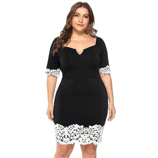 4f1960d285 Dunacifa Women's Dress Plus Size V-Neck Short-Sleeved Casual Dress ...