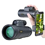 12X50 Monocular Scope, High Power Prism Monocular,Nitrogen Filled Waterproof Fog-proof IP7X Shockproof BAK4 Prism FMC Quick Smartphone Holder for Bird Watching Hunting Camping Travelling Wildlife Sece