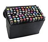 Dual Tips 1mm / 6mm Brush Graphic Drawing Art Marker Pen Art Sketch Set with Pencil Storage Bag for Artist for Painting Coloring Highlighting and Underlining (40pcs, Black pole)
