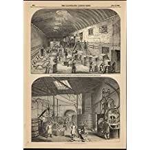 Interior Candle Factory Steam Boiling Engine Room 1849 antique engraved print