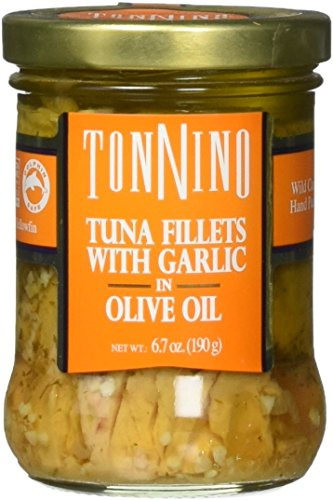 Tonnino Tuna Fillet with Garlic In Olive Oil, (Pack of 6) (Tonnino Tuna Fillets)