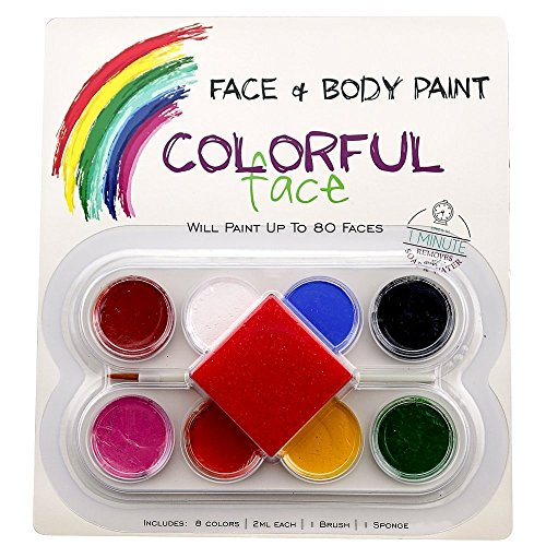 Face Paint Kit for Kids and Adults. Non-Toxic, Water Based, Reusable. (Halloween Face Paint Ideas For Adults)