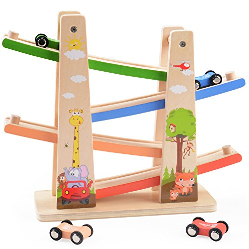WOOKA Wooden Ramp Racer Race Track for Toddler with 4 Mini Car Racers Mini Wooden Cars