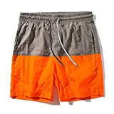 Pickin Summer New Men's Fashion Loose Five Pants Color Matching Couple Beach Pants Male Summer Shorts Men,Orange,XL