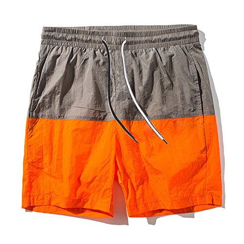 Pickin Summer New Men's Fashion Loose Five Pants Color Matching Couple Beach Pants Male Summer Shorts Men,Orange,XL by Pickin Shorts