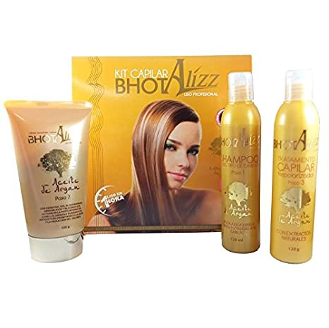 Amazon.com : KERATIN TREATMENT KIT - THE BEST KERATIN TREATMENT BHOT ALIZZ STRAIGHTENING TREATMENT 3 STEP WITH ARGAN OIL, Q10 Y SEAWEED, SHINE/SOFT HAIR ...