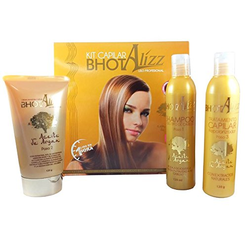 THE BEST KERATIN TREATMENT BHOT ALIZZ STRAIGHTENING TREATMENT 3 STEP WITH ARGAN OIL, Q10 Y SEAWEED, SHINE/SOFT HAIR - STRAIGHTENS EXTREME CURLY HAIR STRONG HAIR RELAXER MADE IN (Relaxer Step)