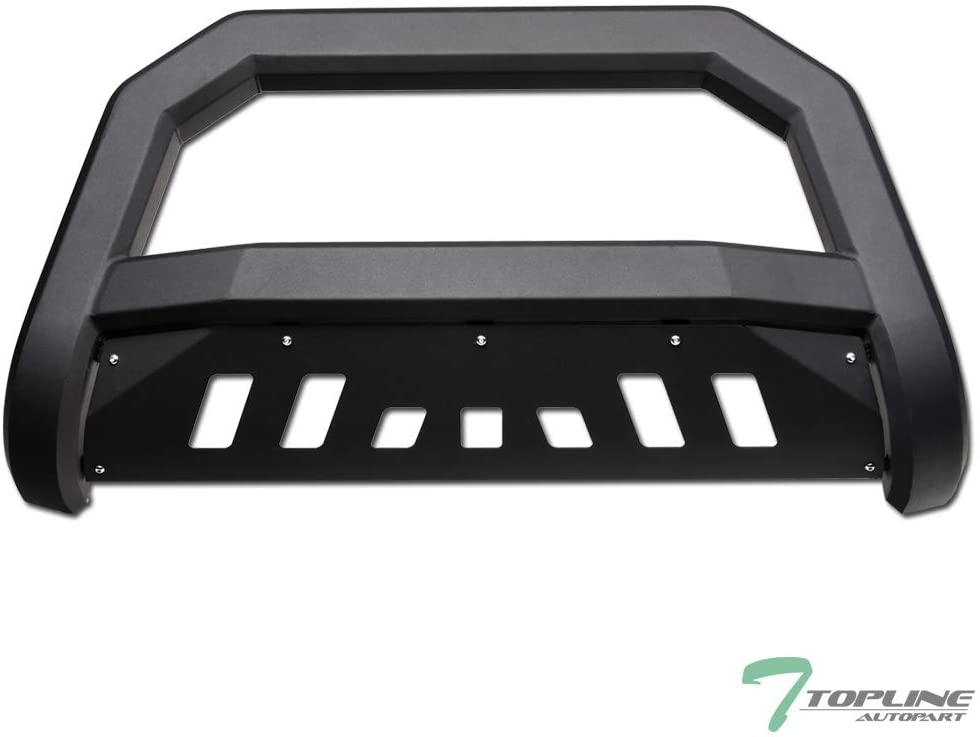 Topline Autopart Matte Black AVT Style Bull Bar Brush Push Front Bumper Grill Grille Guard With Skid Plate For 05//06-10 Hummer H3