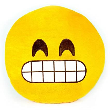 Emoji Emoticono Cojín Almohada Redonda Emoticon Smiley Peluche Bordado Sonriente