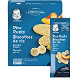GERBER Rice RUSKS Banana Peach, Baby Food, Snack, 7+ Months, 50 g (24 Rusks), 6 Pack