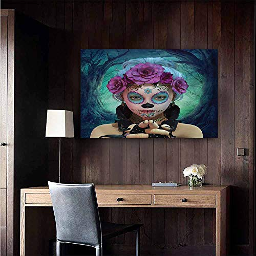 duommhome Horror Art Oil Paintings Scary Clown Like Girls Showing her Hands with Gloves an Flowers in Her Head Print Canvas Prints for Home Decorations 32
