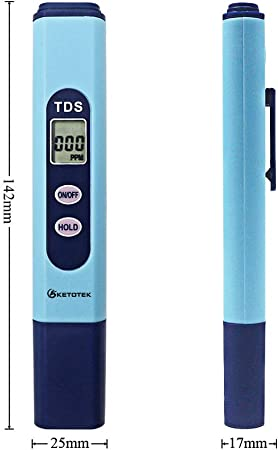 KETOTEK Medidor de TDS Medidor de Prueba de Calidad del Agua Digital LCD Sólidos disueltos totales Cacerola del probador de Agua Kit de Prueba 0-9990 PPM (TDS ...