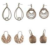 Coolcoco Luxury Fashion Dangler Tassel Dangle Earrings for Lady Woman Girls Prime Bronze (4 pairs/set)