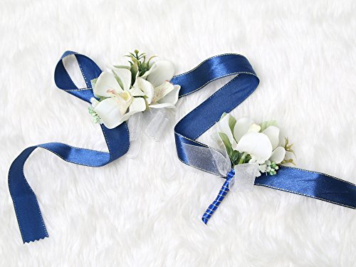 Tropical Wedding Prom Wrist Corsage Mokara Orchids and Boutonniere Set (Navy blue theme)
