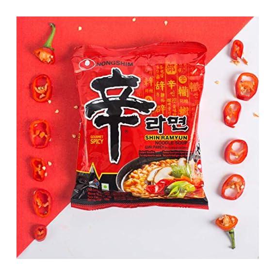 Nongshim Ramyun Korean Style Super Spicy Noodle Soup Instant Noodles (Pack of 5)