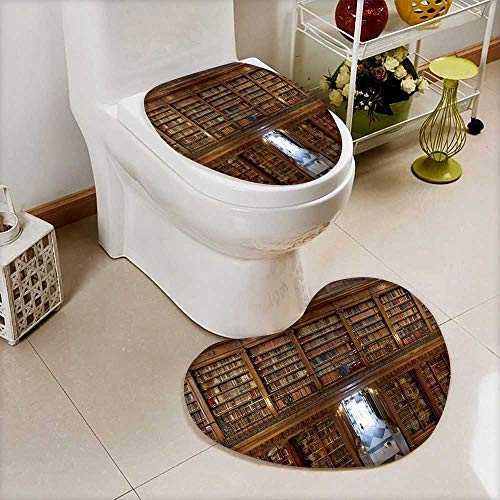 Printsonne Bathroom Non-Slip Heart shaped foot pad Set a wonderful library of old books menendez pelayo in santander spain Personalized Durable by Printsonne