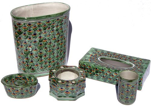 (Fine Crafts Imports Green Peacock Talavera Ceramic Bathroom Set)