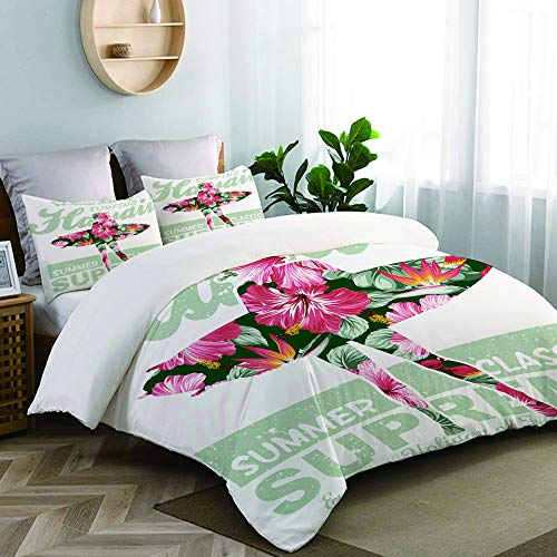 CANCAKA Tropical Hawaii Hibiscus Surfing Girl Silhouette Surfboard Retro Themed Studio Single Apartment Decorate Decorative Custom Design 15 PC Duvet Cover Set Queen/Full