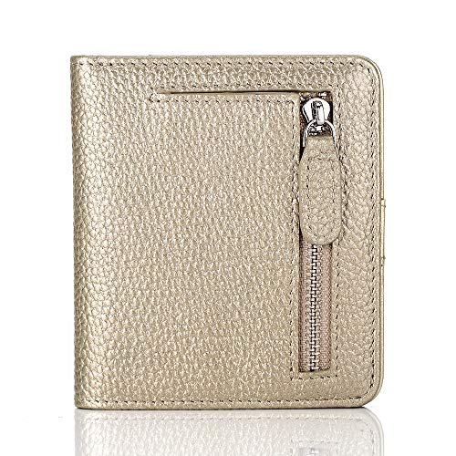 FUNTOR Leather Wallet for women, Ladies Small Compact Bifold Pocket RFID Blocking Wallet for Women, Gold ()