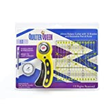 Quilting Rotary Cutting Tool Combo Kit,Set of 4 by Quilter Queen- (45mm Rotary Cutter,45mm Replacement SKS-7 Blades (10-pack), Air erasable Pen and Ruler 6 X 6 Inches) Fits Clover, Fiskars & Olfa