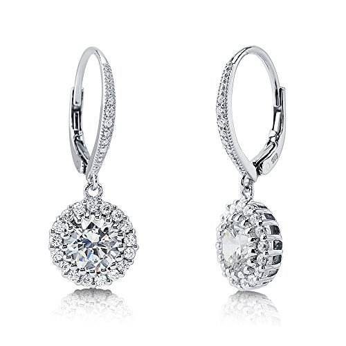 BERRICLE Rhodium Plated Sterling Silver Round Cubic Zirconia CZ Halo Leverback Anniversary Wedding Dangle Drop Earrings