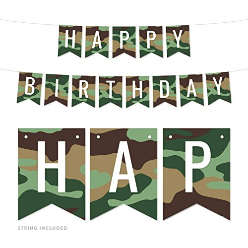 Andaz Press Hanging Pennant Banner Party Decorations, Camouflage Theme, Happy Birthday, 1-Pack, Approx. 5-Feet, Video Game Gaming Gamer Woodland Deer Themed -