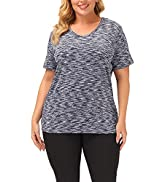 Uoohal Women Plus Size Tops Workout Yoga Short Sleeve Summer Loose Fit Shirts