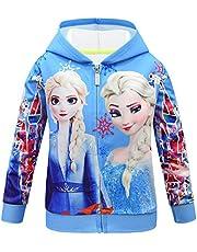 Wnitefg Baby Girls Elsa Print Hooded Sweatshirt Zip Jacket with Pockets