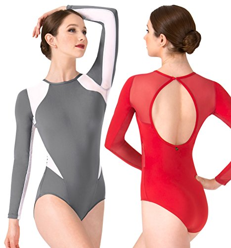 ''Thea'' Mesh Insert Long Sleeve Leotard,ME564ABLP,multi-colored,Petite by Mariia