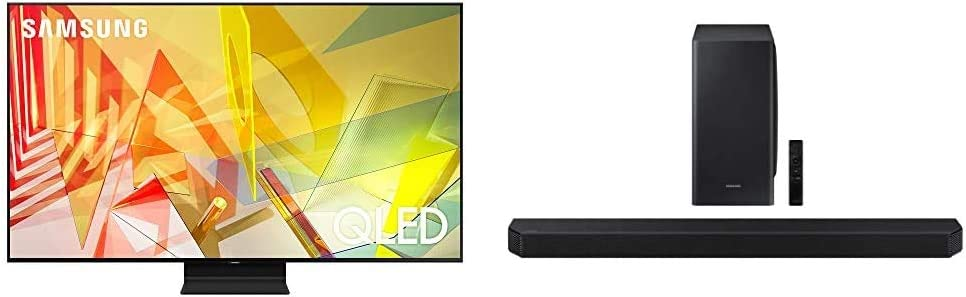 SAMSUNG 75-inch Class QLED Q90T Series - 4K UHD 16X Smart TV with Alexa Built-in (QN75Q90TAFXZA, 2020 Model) + HW-Q900T 7.1.2ch Soundbar with Dolby Atmos/DTS:X and Alexa Built-in (2020), Black